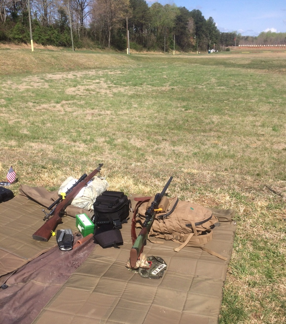 I used my M1903A1 on the left, my shooting partner used his M40A1ish rifle. We both did pretty well on Saturdday